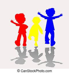 sylwetka, dzieciaki, barwny