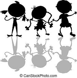 sylwetka, dzieciaki, czarnoskóry