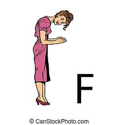 sylwetka, ef., handlowy, f, alfabet, ludzie, litera