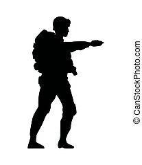 sylwetka, figura, żołnierz, wojskowy, reputacja