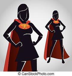 sylwetka, figura, wspaniały, samica, bohater, mamusia