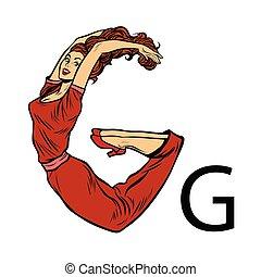 sylwetka, g, handlowy zaludniają, alfabet, gee., litera