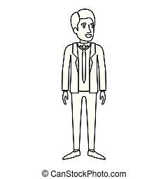 sylwetka, garnitur, stać, krawat, monochromia, człowiek, formalny