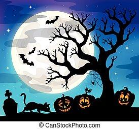 sylwetka, halloween, drzewo