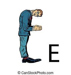 sylwetka, handlowy zaludniają, alfabet, ees., litera e