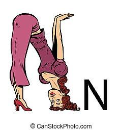 sylwetka, handlowy zaludniają, alfabet, en., n, litera