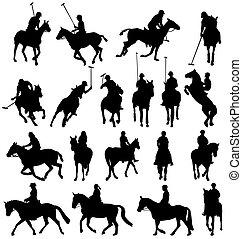 sylwetka, horsebackriding, zbiór