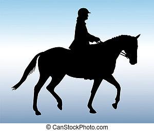 sylwetka, jeździec