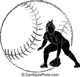 sylwetka, jeden z graczy w krykieta, softball