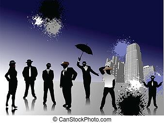 sylwetka, kapelusze, ludzie