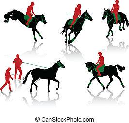 sylwetka, koń, equestrians