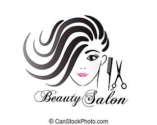 sylwetka, kobieta, ładny, twarz, logo