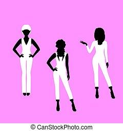 sylwetka, kobieta, fason modelują, garnitur