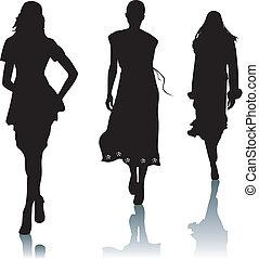 sylwetka, kobieta, fason