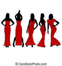 sylwetka, kobiety, stroje, czerwony, taniec