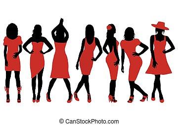sylwetka, kobiety, zbiór, czerwony strój