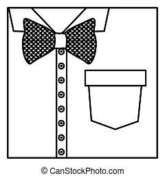 sylwetka, koszula, do góry, motyl, zamknięcie, formalny