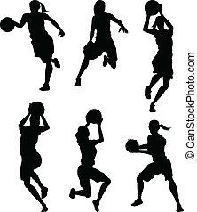 sylwetka, koszykówka, samica, kobiety