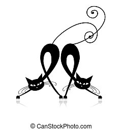 sylwetka, koty, dwa, projektować, łania, twój, czarnoskóry