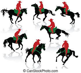 sylwetka, kowboje, grzbiet koński