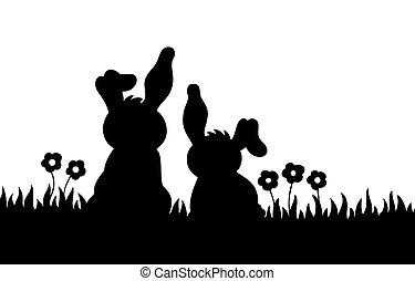 sylwetka, króliki, łąka, dwa