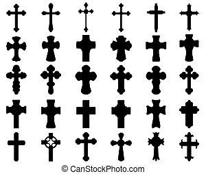 sylwetka, krzyże, różny