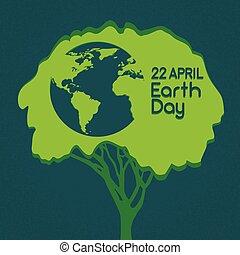 sylwetka, kula, drzewo, zielony, świat, obsypać dzień