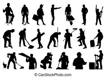 sylwetka, ludzie., wektor, ilustracja, pracujący
