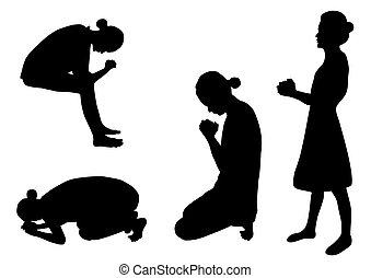 sylwetka, modlący się