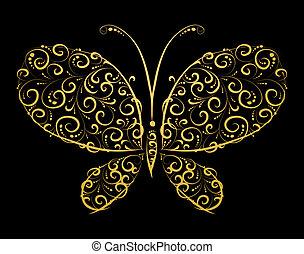 sylwetka, motyl, złoty, projektować, ty