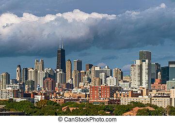sylwetka na tle nieba, barwny, chicago