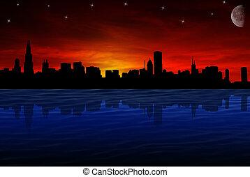 sylwetka na tle nieba, chicago