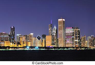 sylwetka na tle nieba, chicago, zmierzch