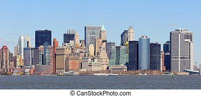 sylwetka na tle nieba, nowy, miasto, york