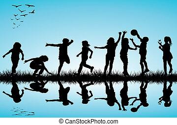 sylwetka, na wolnym powietrzu, grupa, interpretacja, dzieci