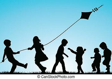 sylwetka, na wolnym powietrzu, grupa, kania, dzieci