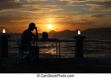 sylwetka, niebo, smutny, piwo, zachód słońca, picie, plaża, czerwony, człowiek