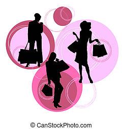 sylwetka, nowoczesny, zakupy, kobiety