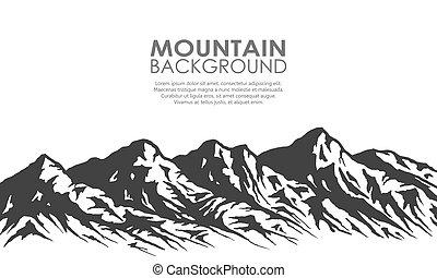 sylwetka, odizolowany, skala, white., góra