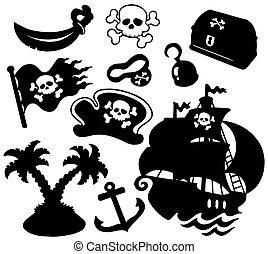 sylwetka, pirat, zbiór