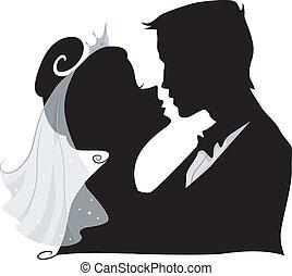 sylwetka, pocałunek, ślub