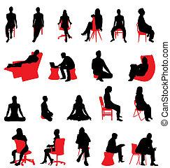 sylwetka, posiedzenie, ludzie