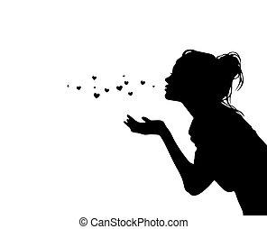 sylwetka, powietrze, pocałunek, dziewczyna, ładny, przesyłka, serca, czarnoskóry, wektor