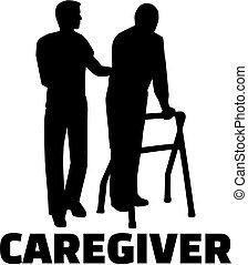 sylwetka, praca, samiec, tytuł, caregiver