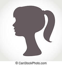sylwetka, prosty, abstrakcyjny, odizolowany, twarz, white., portret, dziewczyna