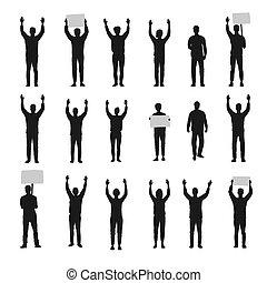 sylwetka, protestując, do góry, siła robocza, wektor, komplet, ludzie