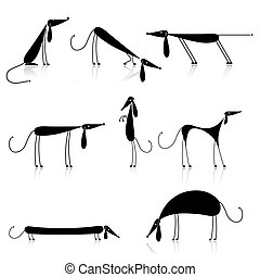 sylwetka, psy, czarnoskóry, twój, zbiór, projektować, zabawny