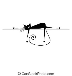 sylwetka, relax., kot, czarnoskóry, projektować, twój