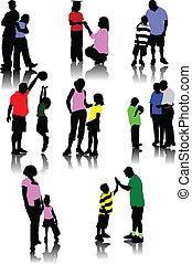 sylwetka, rodzice, dzieci