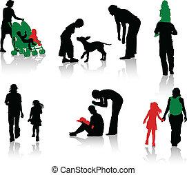 sylwetka, rodzice, odizolowany